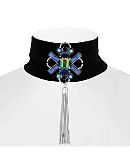 Mood Blue Crystal Tassel Choker Necklace