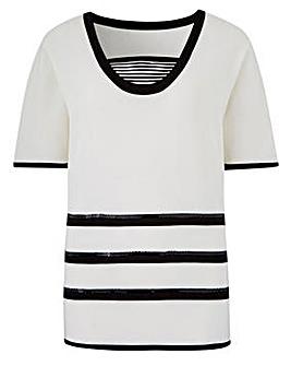 Stripe Insert Jumper with Sequin Detail