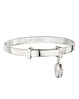 D for Diamond Silver Bootie Bangle
