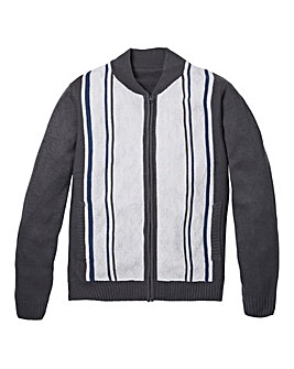 Premier Man Grey Jacquard Zip Cardigan