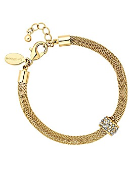 Jon Richard gold mesh charm bracelet