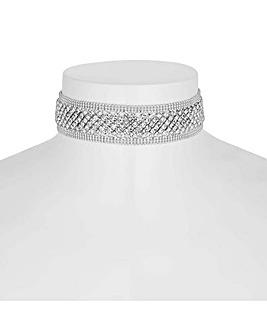 Jon Richard silver diamante choker