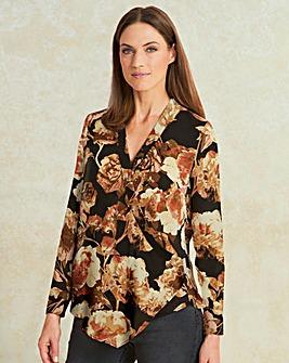 Mulberry Print Wrap Front Drape Blouse