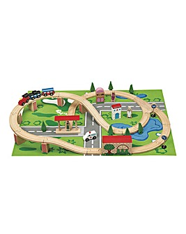 Wooden 50pc Train Set With Playmat