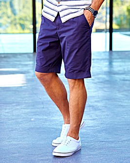 W&B Navy Smart Turn up Shorts & Belt