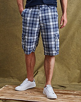 W&B Navy Check Shorts