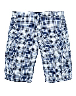 W&B Navy Check Shorts
