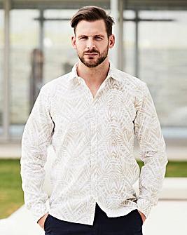 WILLIAMS & BROWN Linen Mix Print Shirt