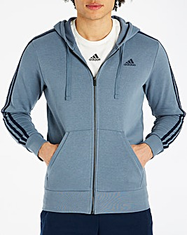 Adidas Essential 3 Stripe Full Zip Hoody