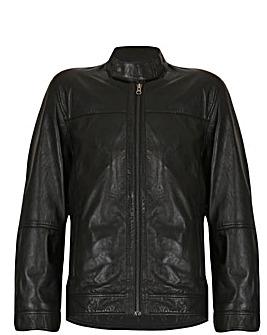 Barneys Originals Leather Harrington