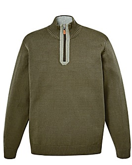 W&B Green Zip Neck Jumper R