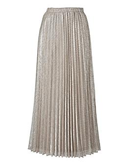 Joanna Hope Metallic Pleated Maxi Skirt