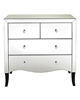 Avignon Curved mirrored 2+2 Drawer Chest
