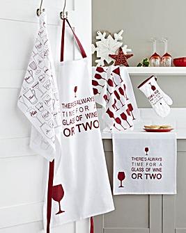 Glass of Wine 5-Piece Kitchen TextileSet