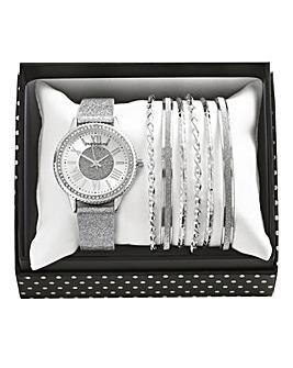 Ladies Watch & Bangle Set - Silver Tone