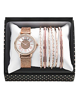 Ladies Watch & Bangle Set - Rose Tone