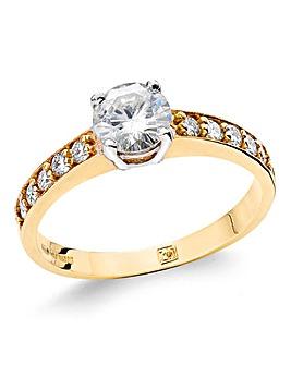 9ct Gold 1ct Moissanite Ring