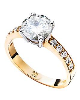 9ct Gold 2ct Moissanite Ring