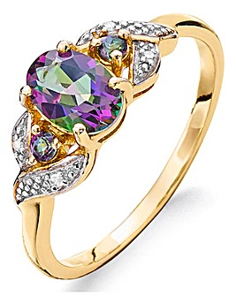 9ct Gold Mystic Topaz & Diamond Ring
