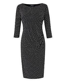 Grace Polka Dot Side Gather Midi Dress
