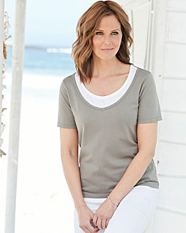 Jersey T Shirt with Diamante Trim