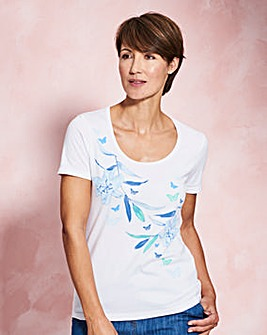 Butterfly Placement Print T Shirt