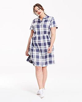 Junarose Blue Checked Shirt Dress