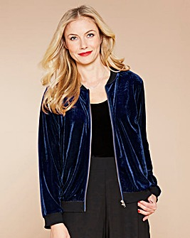 Simply Be Midnight Velour Bomber Jacket