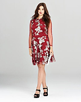 Simply Be Berry Sequin Skater Dress