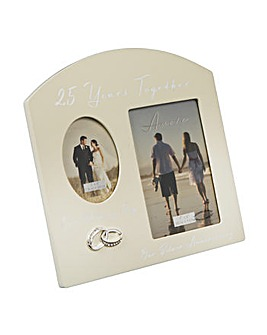 Amore Double Photo Frame 25 Anniversary