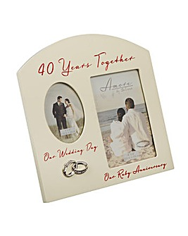 Amore Double Photo Frame 40 Anniversary