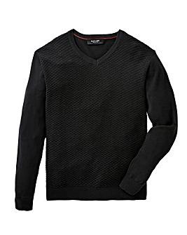 Black Label V Neck Textured Fine Knit