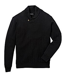 Black Label Shawl Neck Fine Knit Long