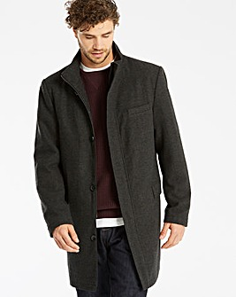 Black Label Wool Herringbone Funnel Coat