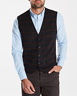 Black Label Checked Wool Waistcoat L