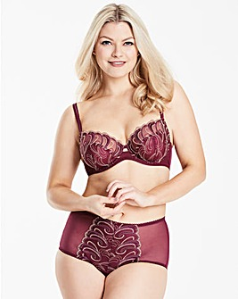 Hazel Embroidered Wine Balcony Bra