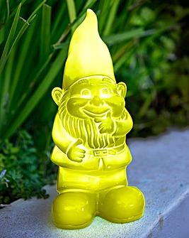 Light Up Solar Garden Gnome Green