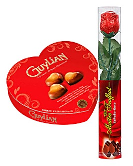Chocolate Rose & Guylian Heart Gift Box