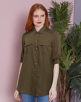 Light Khaki Embroidered Tencel Shirt