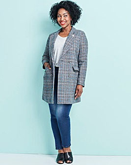 Double Breasted Check Longline Coat