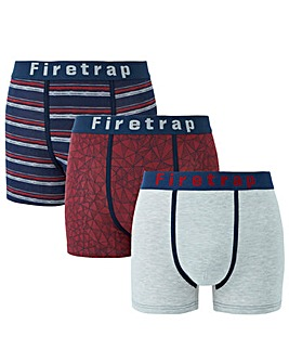 Firetrap Pack Of 3 Mixed Pattern Boxers