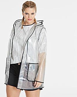 Simply Be Iridescent Glitter Rain Jacket