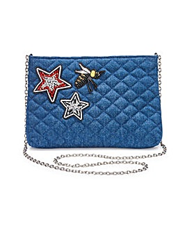 Denim Quilted Clutch Bag with Badges