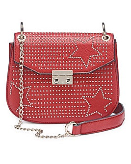 Charlotte Red Studded Saddle Bag