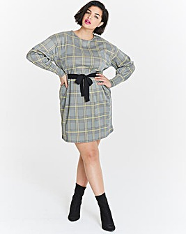 Tie Side Check Swing Dress