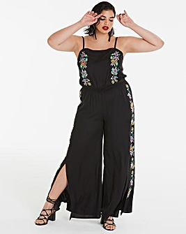 Split Leg Embroidered Jumpsuit