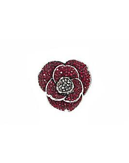 Rhodium plated crystal Poppy brooch