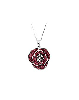 Rhodium plated crystal Poppy pendant