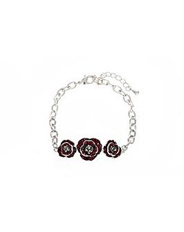 Rhodium plated crystal Poppy bracelet