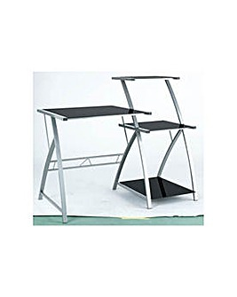 HOME Glass Desk with Shelf